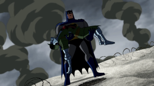 Batman Brave and The Bold Series 2, Episode 21 with batman holding GI Robot