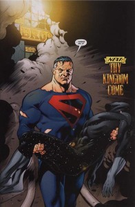 Interior art from JSA #9 with the Kingdom Come Superman arriving in the DCU holding Starman's body.