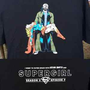 Kevin Smith directed an episode of Supergirl and had this art commissioned for a commemorative T-shirt.