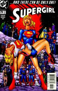 Supergirl holding Supergirl.