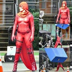 "Crimson Fox on the set of ""Powerless"""
